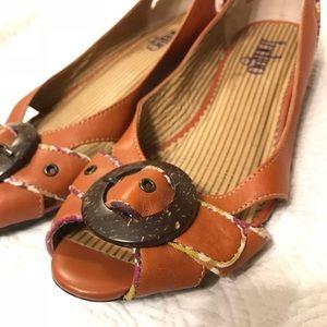 Indigo by Clarks flat peep toe buckle shoe Size 9